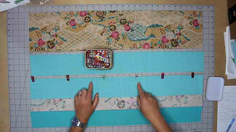 sew on strips to make top quilt