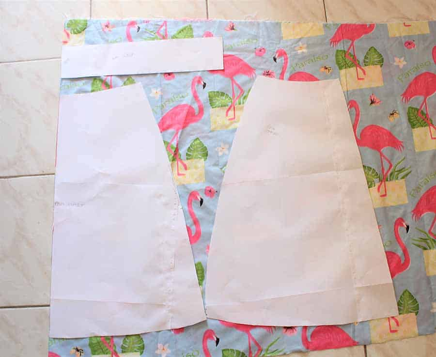 Lay a-line skirt pattern on fabric to cut out pieces