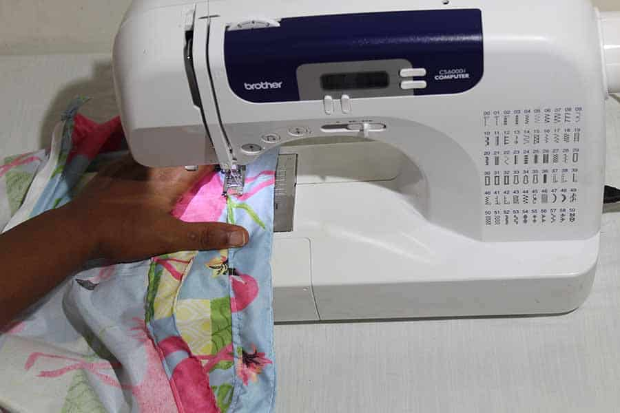 """Now, sew the waistband in place with a 3/8"""" seam allowance."""