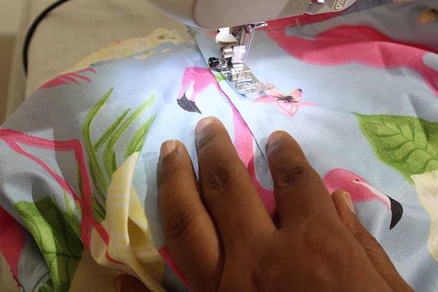 sew 1/2 from edge of zipper