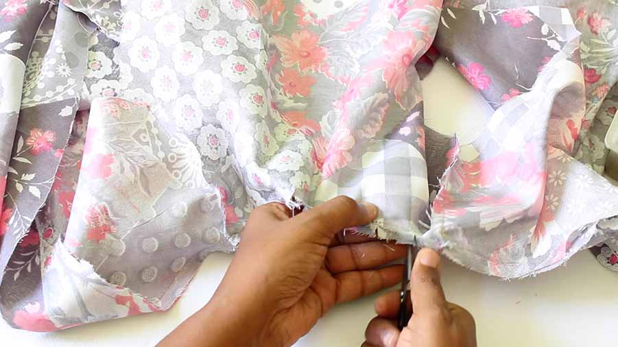 clip curved area of wrap dress bodice