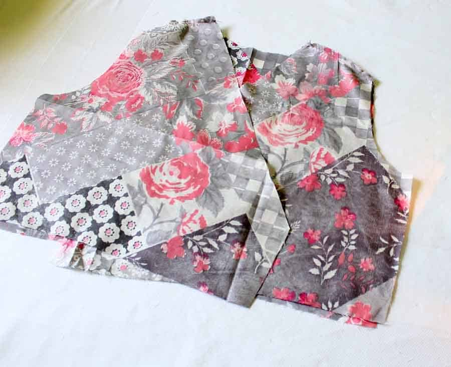 pin bodice together at shoulders