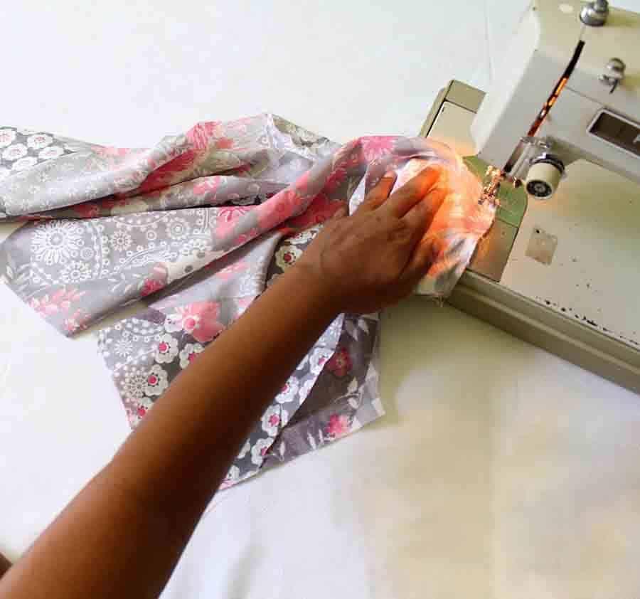 sew wrap dress bodice at shoulder seams