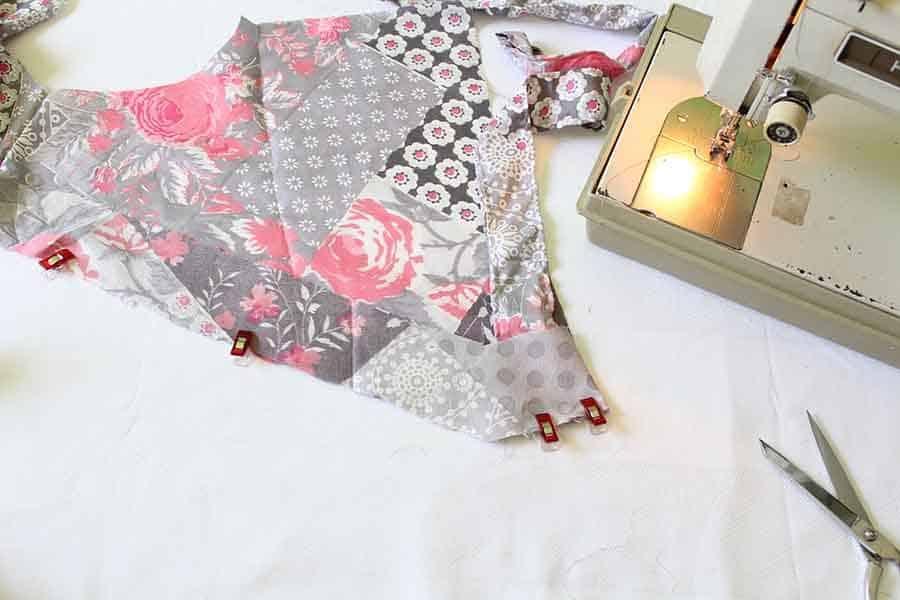 pin ties to bodice of wrap dress