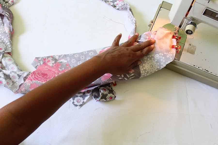 sew facing to bodice