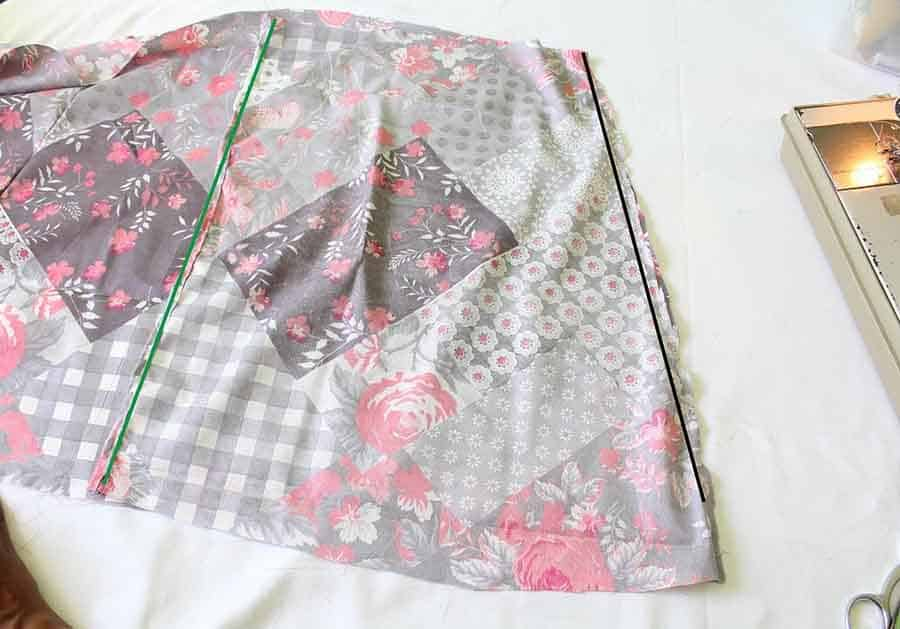 sew skirt piece of wrap dress at side seams