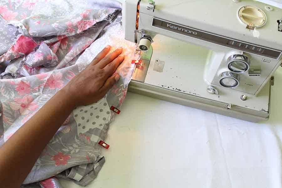 sew skirt piece to bodice piece