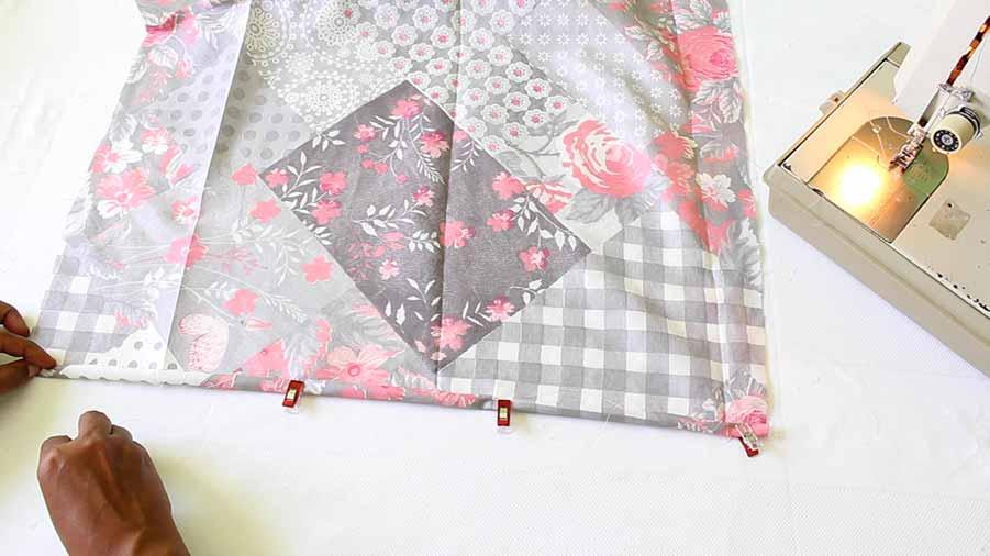 fold wrap dress skirt piece raw edges