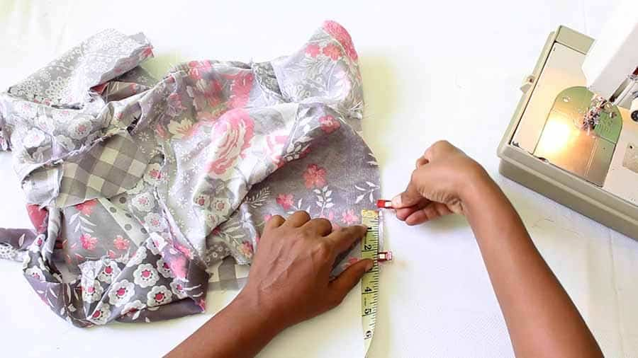 fold bodice of wrap dress right sides together