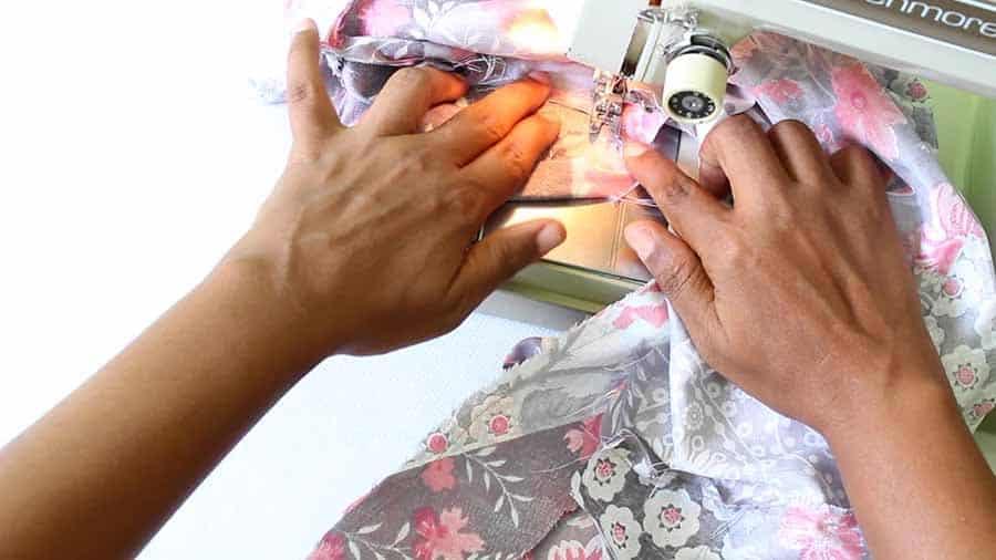 sew bodice of wrap dress