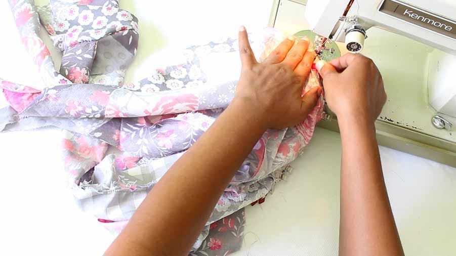 sew sleeve to wrap dress bodice